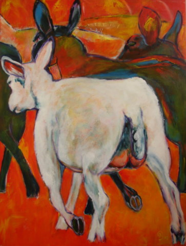 wit schaap weglopend