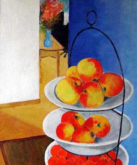 gestapelde fruitschalen