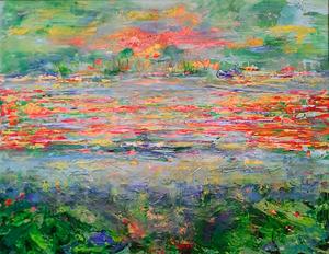 Ik schilder droomlandschappen waarbij ik een brug leg tussen mijn droomwereld en de werkelijkheid.