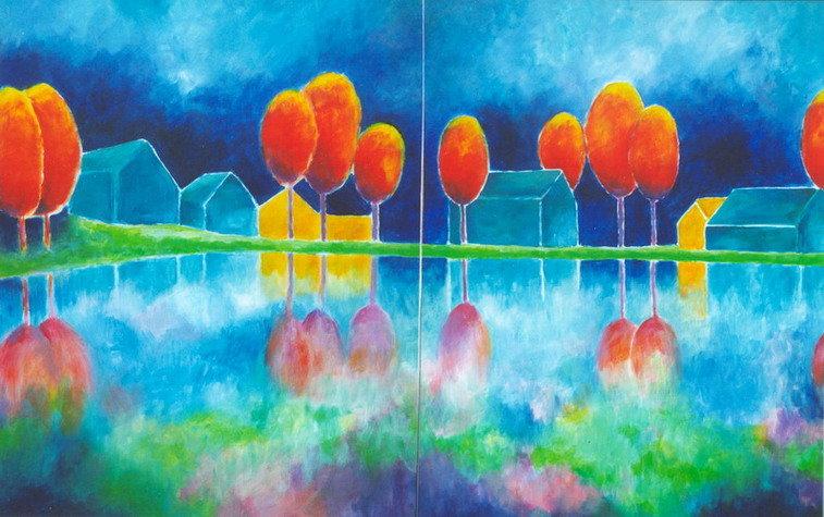 landschap in blauwen