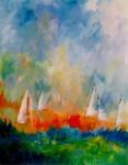 kleurige landschappen in acryl, allemaal op locatie geschilderd