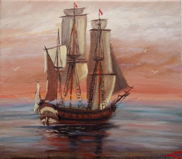 Ochtend zeilschip