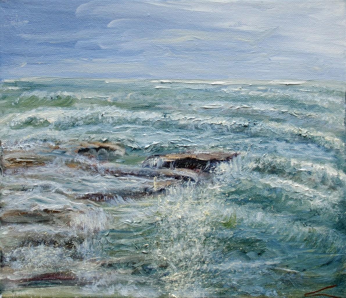 Stormachtige zee bij Sicilië