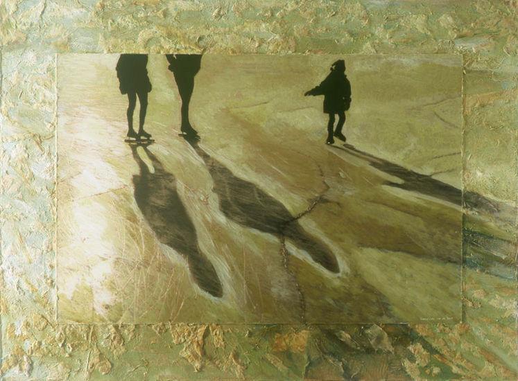 Vader, moeder en kind op het ijs