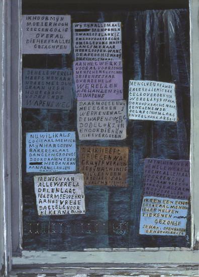 Briefjes voor het raam