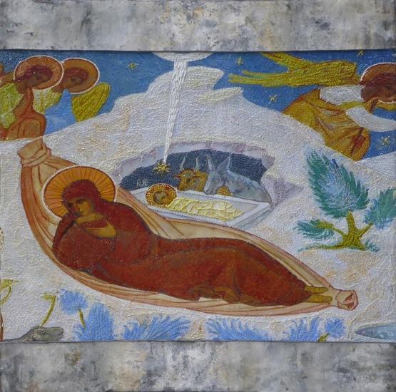 Maria en het kindje Jezus met os en ezel
