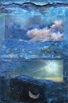 de zeven scheppingsdagen verbeeld, n.a.v. Genesis 1. Mixed media. Orgineel kunstwerk 210 x 17 cm (2001).