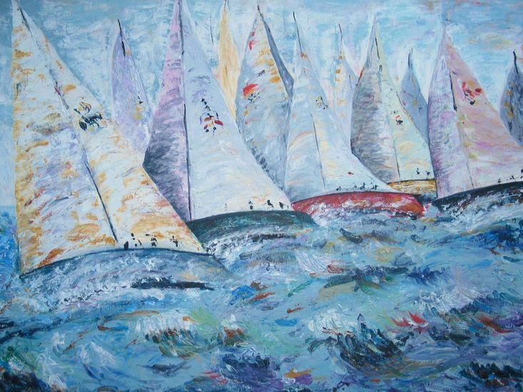 Zeilwedstrijd op ruwe zee