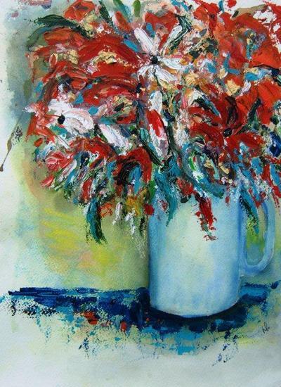 pul met bloemen