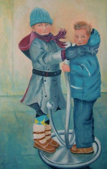 Kinderen op draaimolentje