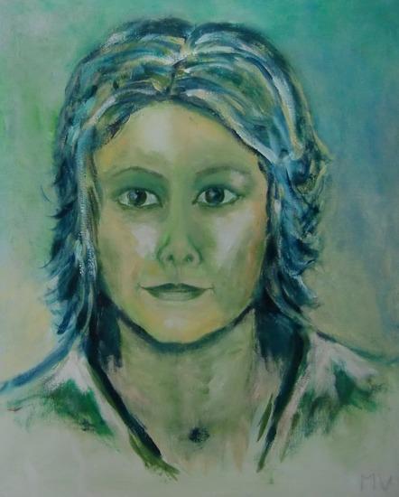 portret in groen