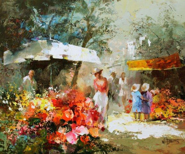 Markt met bloemen