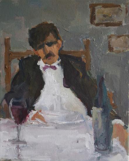 Een heer dineert
