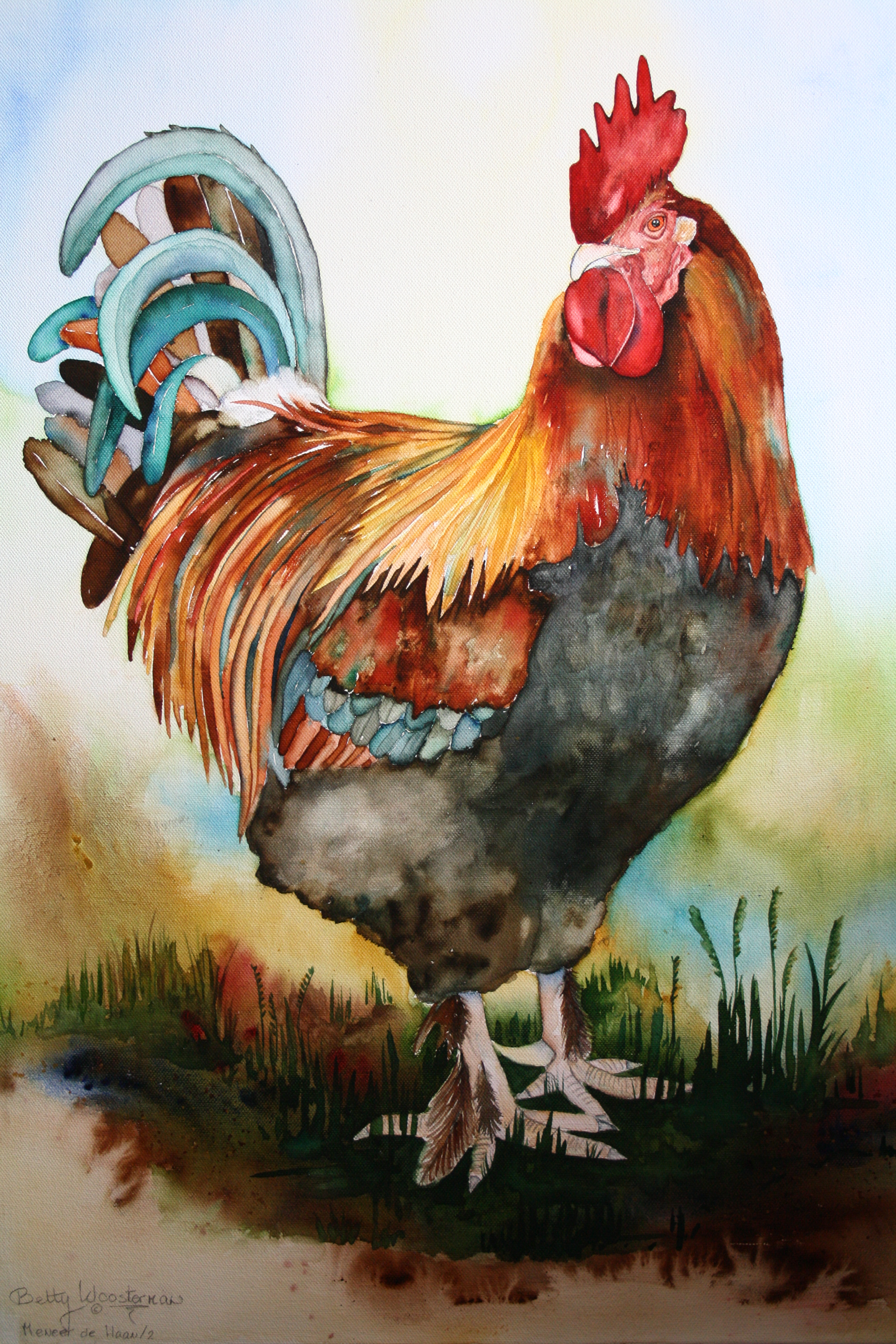 Rooster And Chicks Picture Painting
