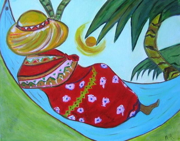 Vrouw in hangmat