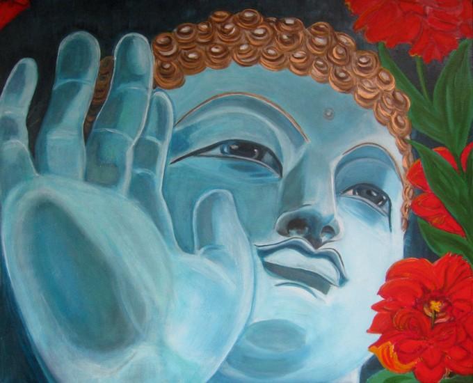 Boeddha met bloem