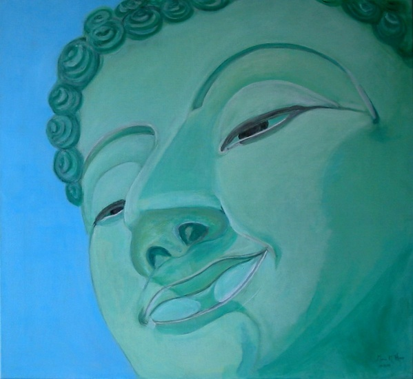 Buddha in blue and green