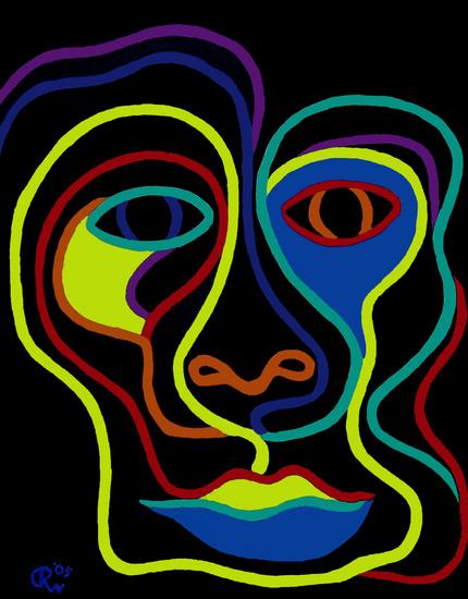 Een gezicht in neon