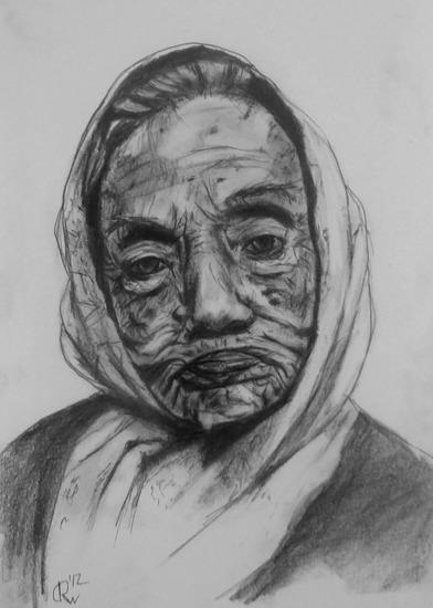 Oude vrouw met sjaal