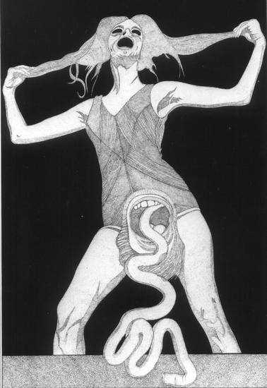 vrouw met slang