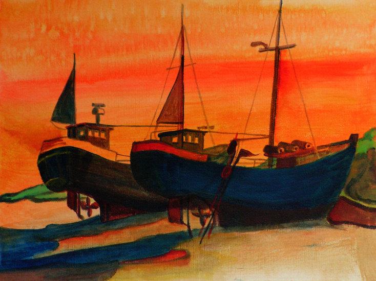 Deense vissers op het strand